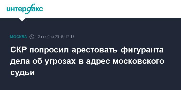 СКР попросил арестовать фигуранта дела об угрозах в адрес московского судьи