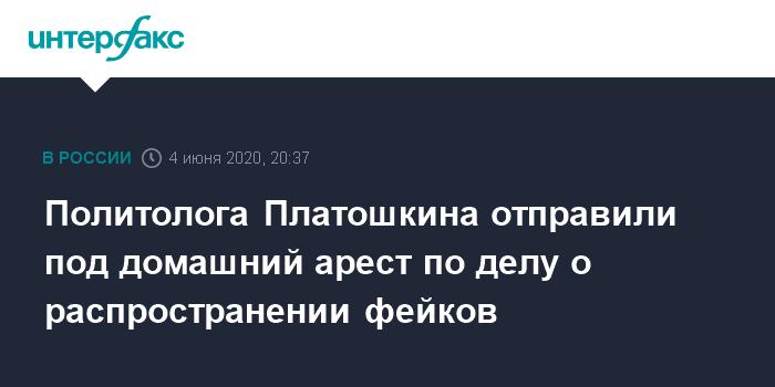 Политолога Платошкина отправили под домашний арест по делу о распространении фейков