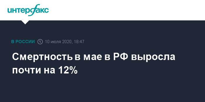 Смертность в мае в РФ выросла почти на 12%