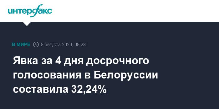 В Белоруссии на досрочных выборах за четыре дня проголосовало 32,24%