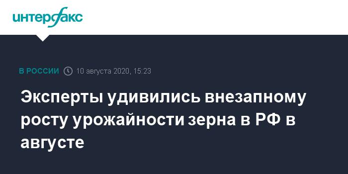 Эксперты удивились внезапному росту урожайности зерна в РФ в августе