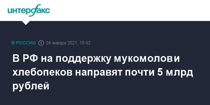 В РФ на поддержку мукомолов и хлебопеков направят почти 5 млрд рублей