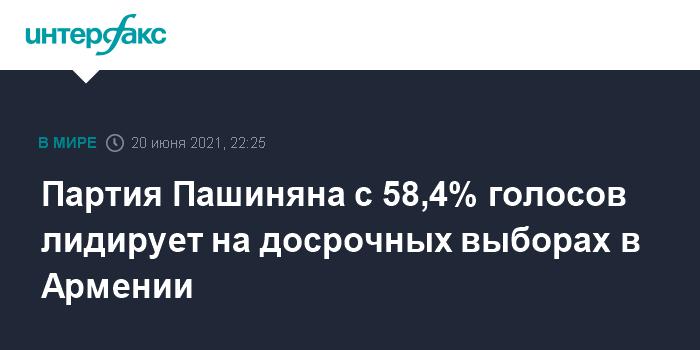 Партия Никола Пашиняна победила на выборах в Армении