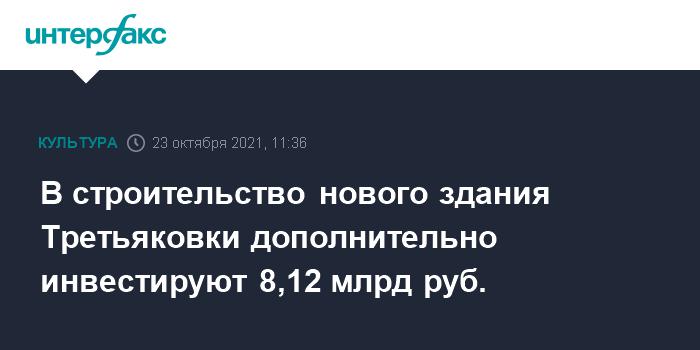 На строительство нового музейного комплекса Третьяковки выделят еще 8,12 млрд рублей