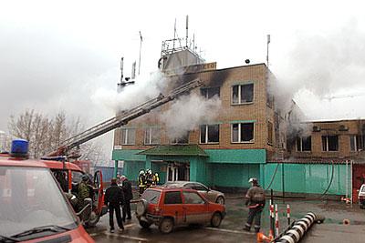 Пожар в автошколе на западе Москвы