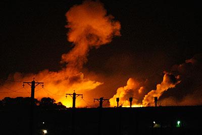 Пожар на складе боеприпасов в Харькове