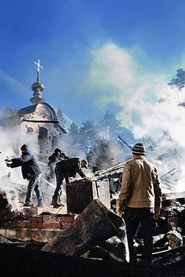 В Екатеринбурге сгорел главный храм монастырского комплекса на Ганиной Яме