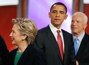 Маккейн, Обама и Клинтон имеют равные шансы на президентство