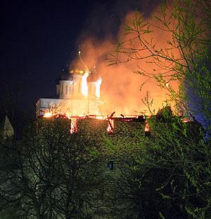 Две сгоревшие башни. Фото