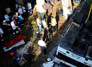 Авария автобуса: помощь пострадавшим