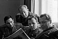 Летчики-космонавты СССР (слева направо): Быковский В., Леонов А., Гагарин Ю., Титов Г., 1965г.
