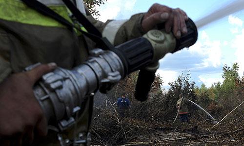 Во время тушения торфяников в Шатурском районе.