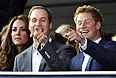 Кэтрин, Герцогиня Кэмбриджская, Принц Уильям и Принц Гарри во время празднования 60-летия со дня вступления на престол королевы Елизаветы II в Великобритании.