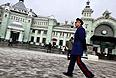 Во время патрулирования площади Белорусского вокзала участниками казачьей народной дружины.