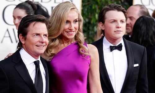 Актер Майкл Джэй Фокс, его жена Трейси Поллан и их сын Сэм Фокс.
