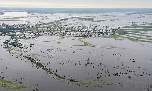 Залитый водой поселок Владимировка в 3 км от Благовещенска во время облета подтопленных территории из-за разлива реки Буреи в Амурской области.