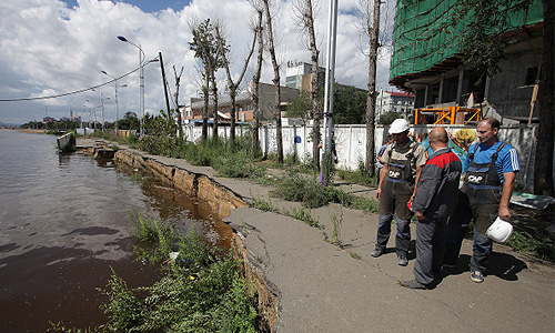 Наводнение в Амурской области. Съемка с вертолета.