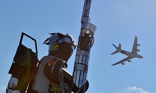 Самолет Airbus А380 во время демонстрационного полета на Международном авиационно-космическом салоне МАКС - 2013 в Жуковском.