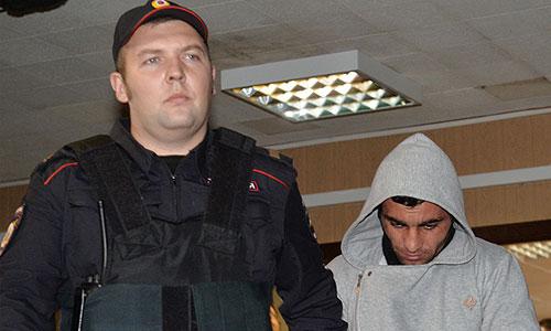 Орхан Зейналов, задержанный по подозрению в убийстве Егора Щербакова в московском районе Бирюлево Западное, на заседании Пресненского суда города Москвы.