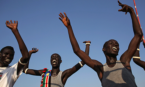 Жители района Абьей, находящегося на территории между северным и южным Суданом, радуются результатам референдума.