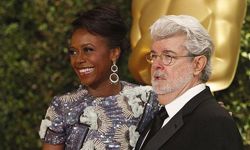 Режиссер и продюсер Джордж Лукас с женой Меллоди.