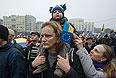 """Участники митинга """"За европейскую Украину"""" за подписание соглашения об ассоциации с Евросоюзом на Европейской площади в Киеве."""