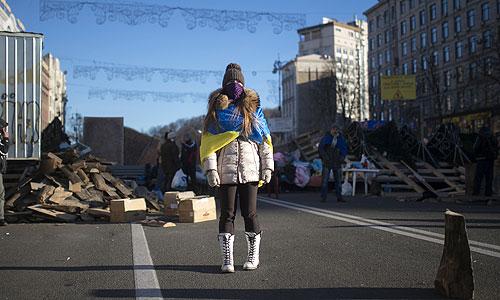 Девушка на улице Крещатик в Киеве.