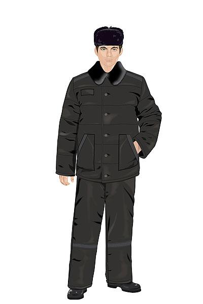 Мужские костюмы снабжены светло-серыми (судя по виду - светоотражающими) полосками на плечах, краях карманов куртки, а также в области колен на брюках.
