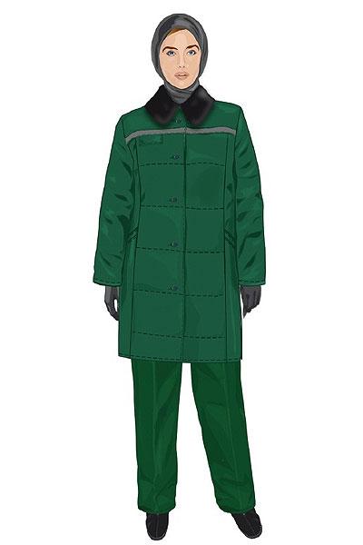 Для холодного сезона предусмотрено простроченное квадратами полупальто с воротником из искусственного меха, прямые брюки, теплый платок для головы, перчатки и утепленные ботинки. Вся верхняя одежда для слабого пола имеет зеленый окрас.