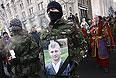 Во время похорон активиста Михаила Жизневского, погибшего в результате протестных акций.