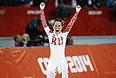 Ольга Граф (Россия), занявшая третье место на дистанции в забеге на 3000 метров в соревнованиях по конькобежному спорту среди женщин.