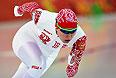 Ангелина Голикова (Россия) на дистанции в первом в забеге на 500 метров в соревнованиях по конькобежному спорту среди женщин.