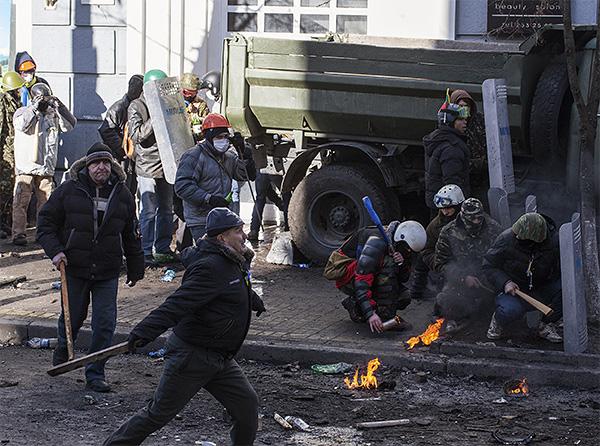 Протестующие в центре украинской столицы.