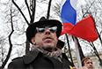 """Участник антивоенного """"Марша мира"""" певец и музыкант Андрей Макаревич во время митинга на проспекте Сахарова в Москве."""