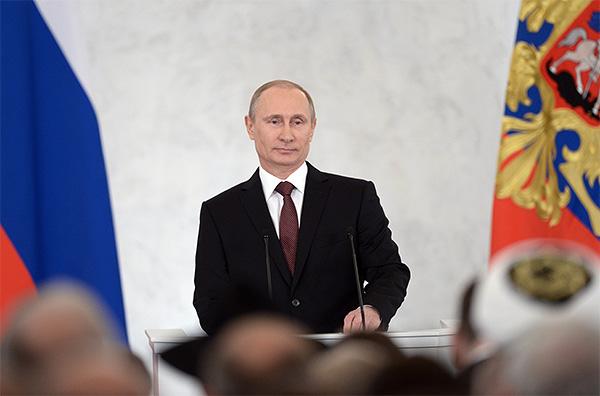 Президент России Владимир Путин во время выступления с посланием Федеральному собранию.