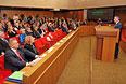 Председатель Государственного Совета Республики Крым Владимир Константинов выступает на заседании Государственного совета Республики Крым в Симферополе.