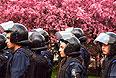 Сотрудники донецкой милиции в одном из парков города.