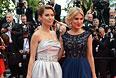 Телеведущие Виктория Боня (слева) и Хофит Голан на красной ковровой дорожке Каннского кинофестиваля.