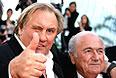 Жерар Депардье и президент FIFA Йозеф Блаттер.