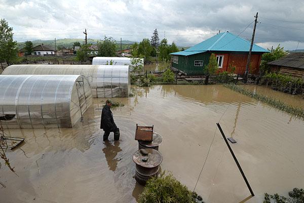 Житель села Майма на своем приусадебном участке, посадки на котором были полностью уничтожены паводком.