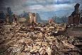 Поселок Станица Луганская (райцентр Станично-Луганского района, донская казачья станица на территории современной Украины) в руинах.