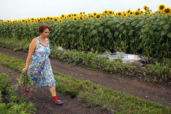 Местная жительница несет букет полевых цветов к месту падения самолета.