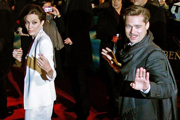 """Брэд Питт и Анджелина Джоли на немецкой премьере фильма """"Загадочная история Бенджамина Баттона"""". Январь 2009"""