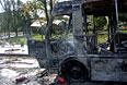 В результате попадания мины в остановку общественного транспорта произошел взрыв.