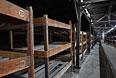 Деревянные нары в разрушенных казармах концентрационного лагеря Освенцим