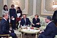 Президент России Владимир Путин, президент Франции Франсуа Олланд, канцлер Германии Ангела Меркель, президент Украины Петр Порошенко (слева направо) во время переговоров