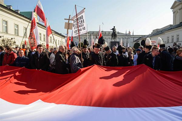 Памятные мероприятия перед президентским дворцом в Варшаве