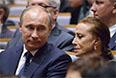 Президент РФ Владимир Путин и балерина, хореограф Майя Плисецкая на церемонии открытия новой сцены Мариинского театра. 2013 год.