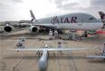 Самолет Airbus А380 и беспилотник на 51-м Международном аэрокосмическом салоне