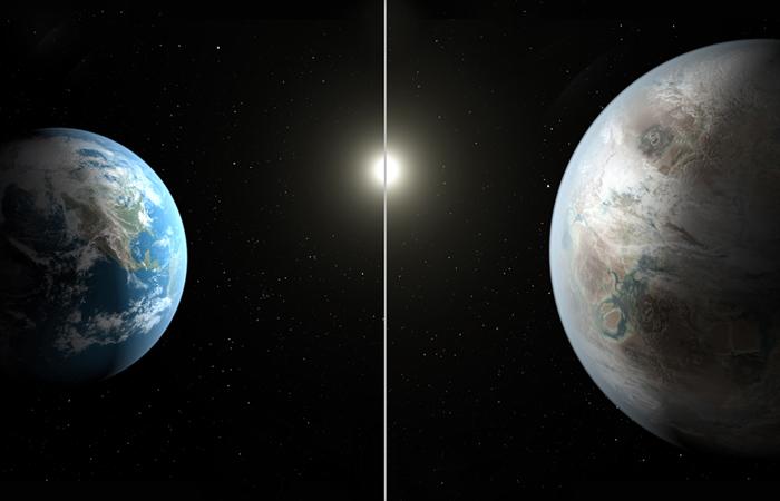 """Планета Kepler 452b в полтора раза больше Земли, ее возраст составляет 6 млрд лет (против 4,5 млрд у Земли). Обнаруженный """"близнец"""" Земли находится от нее на расстоянии 1,4 тыс. световых лет - путешествие до Kepler 452b при существующих сейчас технологиях займет порядка 550 млн земных лет."""